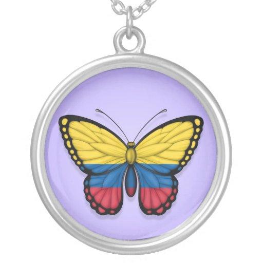 Bandera colombiana de la mariposa en púrpura grimpolas