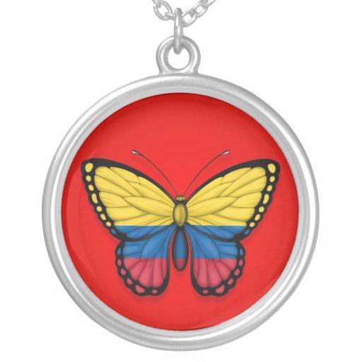 Bandera colombiana de la mariposa en rojo colgante