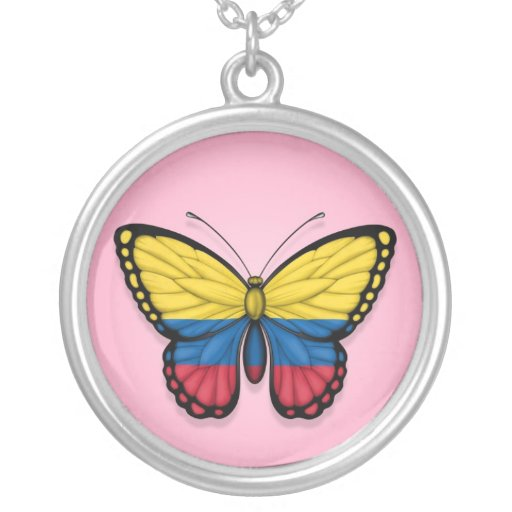 Bandera colombiana de la mariposa en rosa joyerias personalizadas