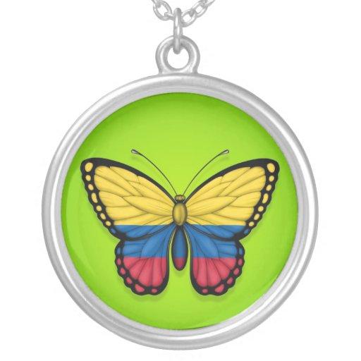 Bandera colombiana de la mariposa en verde grimpola