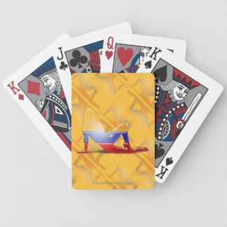 Bandera colombiana de la silueta del chica baraja cartas de poker