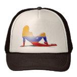 Bandera colombiana de la silueta del chica gorras de camionero