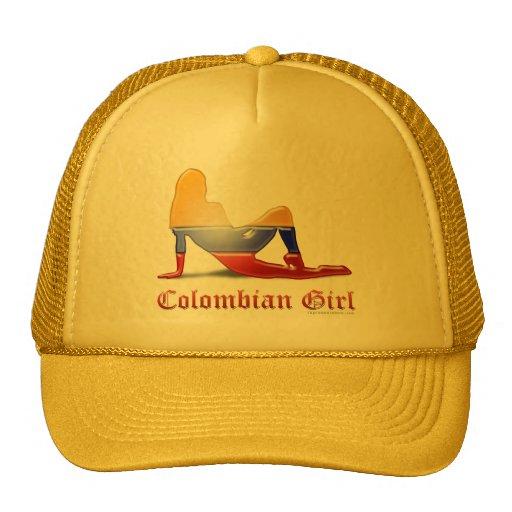 Bandera colombiana de la silueta del chica gorro