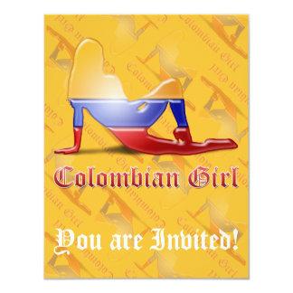 """Bandera colombiana de la silueta del chica invitación 4.25"""" x 5.5"""""""