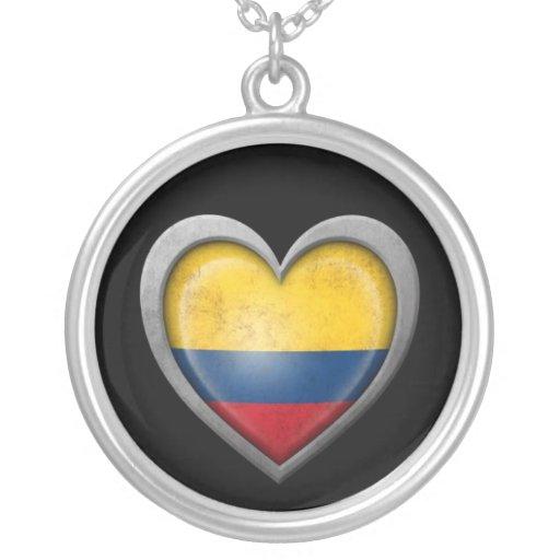 Bandera colombiana del corazón con efecto del meta collar personalizado