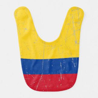Bandera colombiana rascada y rasguñada baberos de bebé