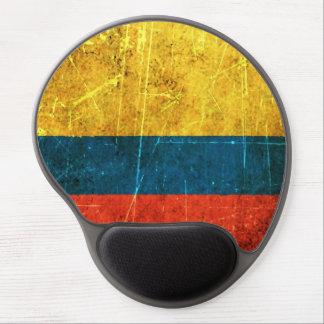 Bandera colombiana rasguñada y llevada del vintage alfombrillas de raton con gel