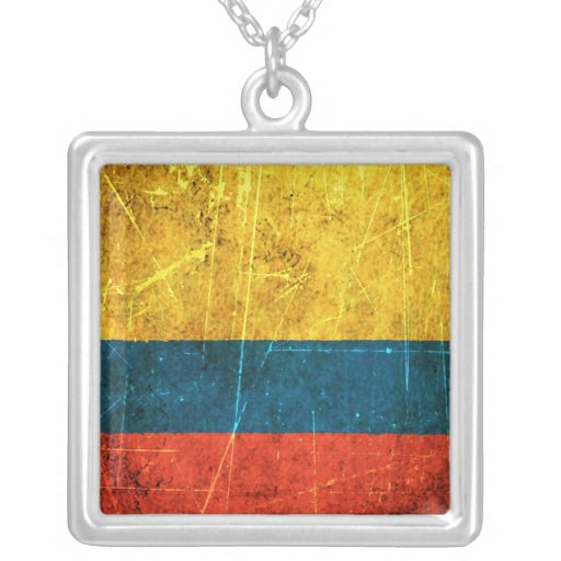 Bandera colombiana rasguñada y llevada del vintage joyerías
