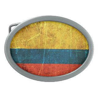 Bandera colombiana rasguñada y llevada del vintage hebillas cinturon ovales