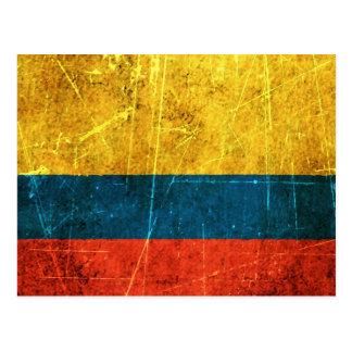 Bandera colombiana rasguñada y llevada del vintage tarjeta postal