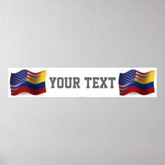 Bandera Colombiano-Americana de la bandera que agi Póster