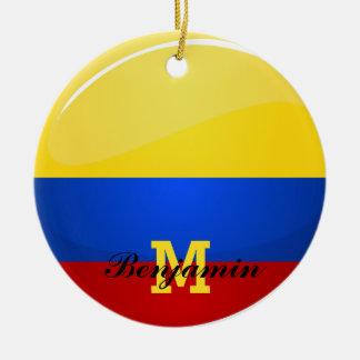 Bandera colombina redonda brillante adorno redondo de cerámica
