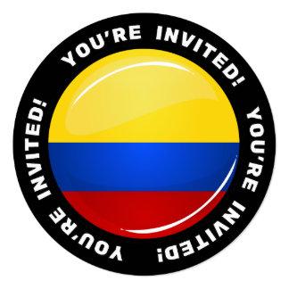 """Bandera colombina redonda brillante invitación 5.25"""" x 5.25"""""""