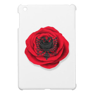 Bandera color de rosa albanesa en blanco