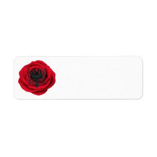Bandera color de rosa albanesa en negro etiqueta de remitente
