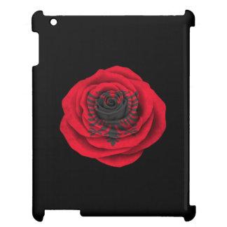 Bandera color de rosa albanesa en negro