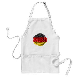 Bandera color de rosa alemana en negro delantal