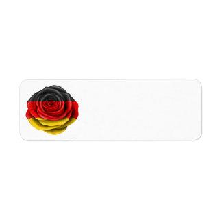 Bandera color de rosa alemana en negro etiquetas de remite