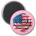 Bandera color de rosa americana en rosa imanes