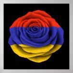 Bandera color de rosa armenia en negro posters