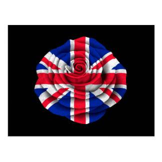 Bandera color de rosa británica en negro postales
