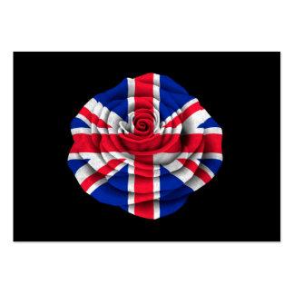 Bandera color de rosa británica en negro tarjetas de visita grandes