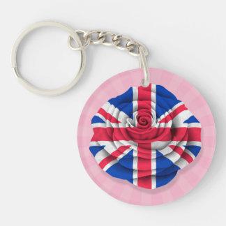 Bandera color de rosa británica en rosa llavero redondo acrílico a doble cara