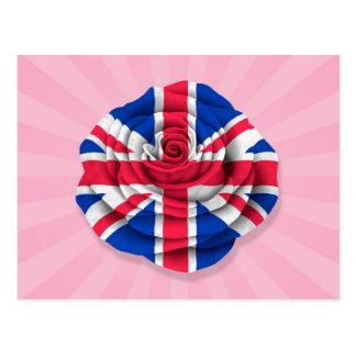 Bandera color de rosa británica en rosa postales