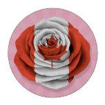 Bandera color de rosa canadiense en rosa juego de fichas de póquer
