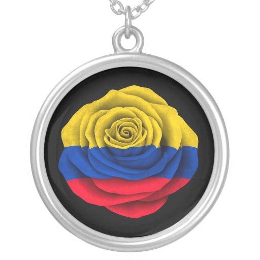 Bandera color de rosa colombiana en negro joyerias
