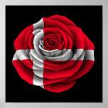 Bandera color de rosa danesa en negro impresiones
