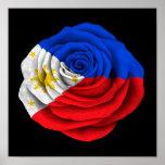 Bandera color de rosa filipina en negro posters