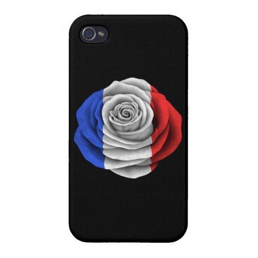 Bandera color de rosa francesa en negro iPhone 4 cobertura