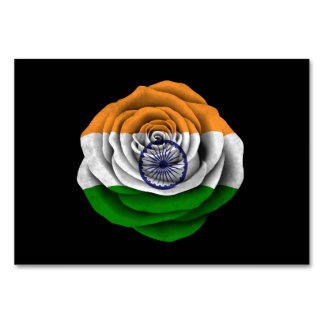 Bandera color de rosa india en negro