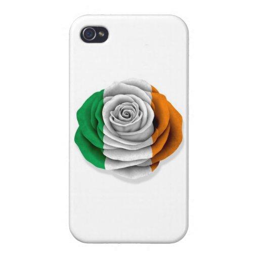 Bandera color de rosa irlandesa en blanco iPhone 4/4S carcasas