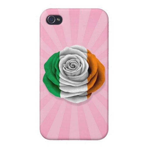 Bandera color de rosa irlandesa en rosa iPhone 4 fundas