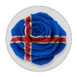 Bandera color de rosa islandesa en blanco juego de fichas de póquer