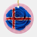 Bandera color de rosa islandesa en rosa adornos de navidad