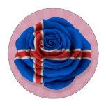 Bandera color de rosa islandesa en rosa juego de fichas de póquer