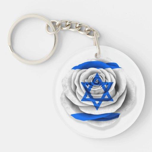 Bandera color de rosa israelí en blanco llaveros