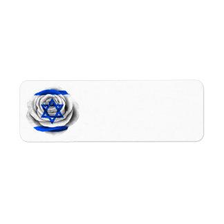 Bandera color de rosa israelí etiqueta de remitente