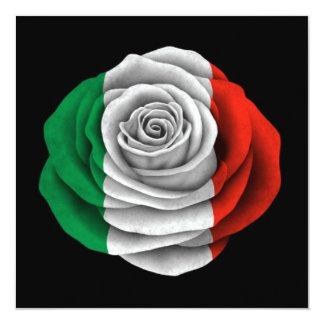 """Bandera color de rosa italiana en negro invitación 5.25"""" x 5.25"""""""