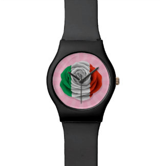Bandera color de rosa italiana en rosa relojes de pulsera