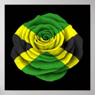 Bandera color de rosa jamaicana en negro posters