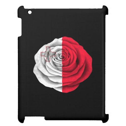 Bandera color de rosa maltesa en negro