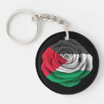 Bandera color de rosa palestina en negro llavero