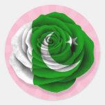Bandera color de rosa paquistaní en rosa pegatinas redondas