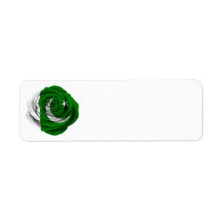 Bandera color de rosa paquistaní etiquetas de remite