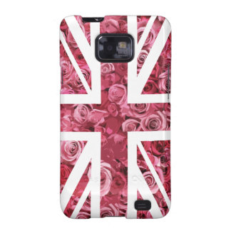 Bandera color de rosa rosada de Union Jack Británi Samsung Galaxy S2 Carcasas