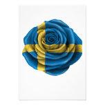 Bandera color de rosa sueca anuncio personalizado